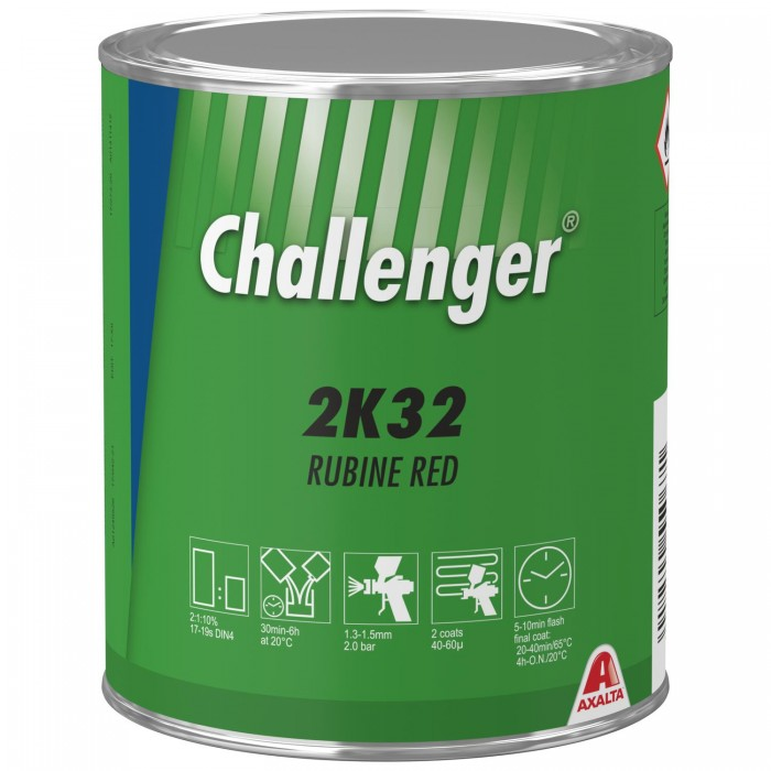 Двокомпонентна емаль Challenger 2K Topcoat 2K32 Rubine Red (1л)