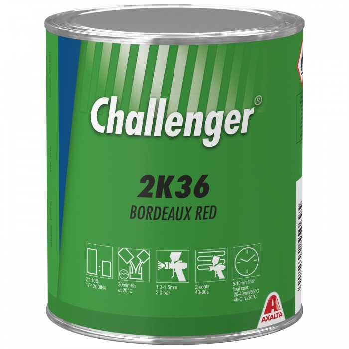 Двокомпонентна емаль Challenger 2K Topcoat 2K36 Bordeaux Red (1л)