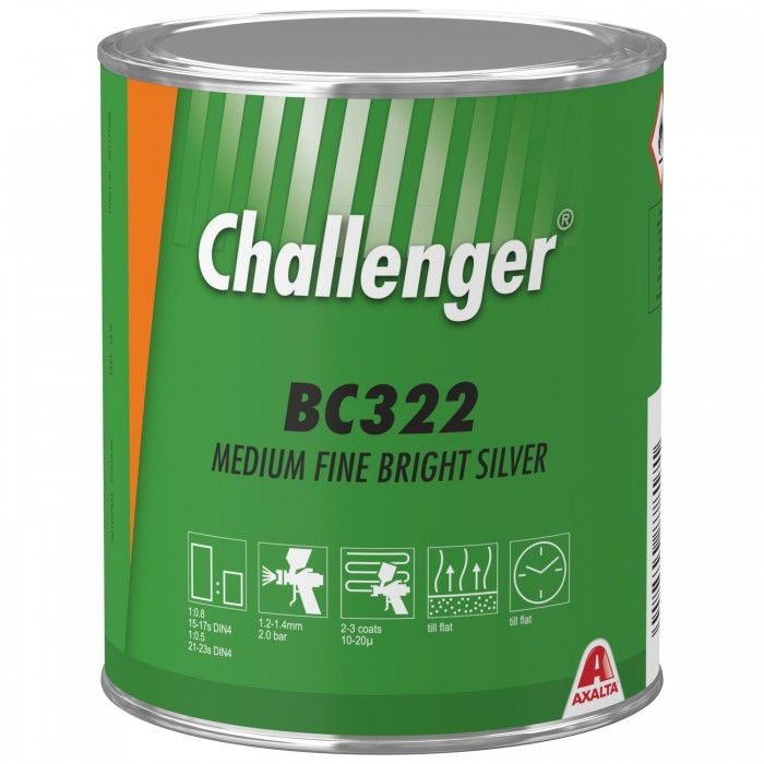 Базове покриття Challenger Basecoat BC322 Medium Fine Bright Silver (1л)