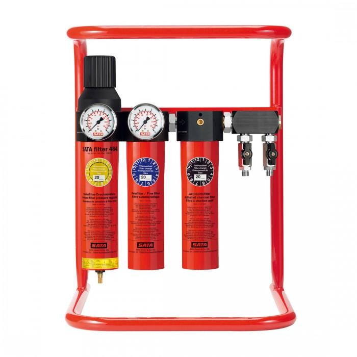 Триступеневий фільтр SATA filter 484 с регулятором тиску і вихідним блоком 2*1/4 з напільного підставкою