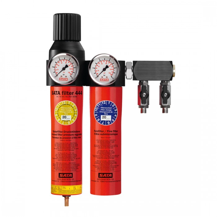 Двоступеневий фільтр SATA filter 444 з регулятором тиску і вихідним блоком 2*1/4
